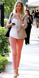coral jeans w/ neutral top || Coral jeans would just make my life perfect! I'm gonna buy a million pairs when I find them!