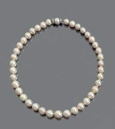 COLLIER de trente neuf perles fines en chute, fermoir serti dans une perle, épaulé de deux viroles d'or gris agrémentées de diamants. Diamètre des perles: de 7,9 à 11,6 mm environ Longueur: 41 cm environ… - Pierre Bergé & associés - 18/11/2015