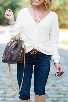 Twist Front Sweater, Gucci GG Marmont Leather Belt & Louis Vuitton Turenne PM - Something Delightful Blog