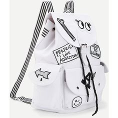 SheIn(sheinside) Letter & Cartoon Pattern Backpack With Striped Strap (1,100 INR) ❤ liked on Polyvore featuring bags, backpacks, canvas rucksack, print backpacks, canvas backpacks, day pack backpack and print comic book
