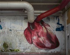 "A Croatian Street Artist Made This Amazing Beating Heart Mural: A whole new meaning of ""bringing street art to life. 3d Street Art, Street Art News, Urban Street Art, Amazing Street Art, Street Art Graffiti, Street Artists, Urban Art, Amazing Art, Performance Artistique"