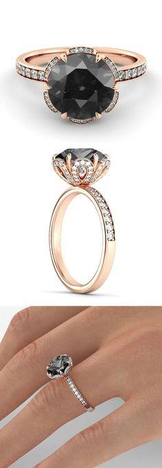 2.00 CT Natural Flower Black Diamond Filigree Engagement Ring 14k Rose Gold Large Black Diamond Ring