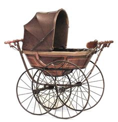 """English Victorian pine painted and ebonized trim """"CEE"""" spring baby carriage (perambulator) with brown tufted interior & folding hood (Wm Wilson patent for SILVER CROSS CO) Victorian Furniture, Victorian Decor, Victorian Homes, Victorian Era, Antique Furniture, Victorian Halloween, Victorian Dollhouse, Baby Kind, Retro Vintage"""