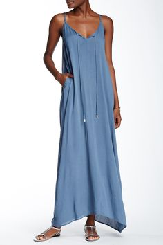 Split Neck Gauze Maxi Dress by Love Stitch on @nordstrom_rack