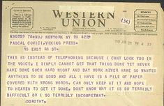 Anyone who has ever hit a wall whilst writing will find it difficult not to empathise with the dejected words ofDorothy Parkerin this telegram, sent in 1945 to her editor,Pascal Covici. Such was her frustration, Parker couldn't even bring herself to ring him and explain.