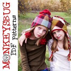 Funky Fleece Hat PDF Sewing Pattern by Monkeysbug Patterns - Allegro… Fleece Crafts, Fleece Projects, Knitting Projects, Sewing Projects, Diy Crafts, Sewing Patterns For Kids, Sewing For Kids, Sewing Ideas, Pattern Sewing