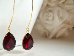 Ruby Garnet Red  Earrings Bridal,Rhinestone and Spiritual Jewelry