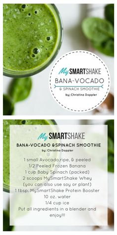 Banana-avocado with Spinach Smoothie recipe using USANA's MySmartShake Protein powder and Protein booster. Spinach Smoothie Recipes, Detox Recipes, Healthy Protein Shakes, Healthy Smoothies, My Smart Shake, Get Healthy, Healthy Eats, Health Warrior, Plant Protein