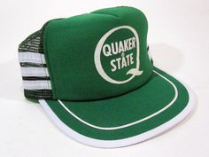 266701267ce Vintage Quaker State Mesh Snapback Trucker Hat 1970 s 1980 s