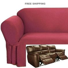 Reclining Sofa Slipcover Ribbed Texture Chocolate Adapted
