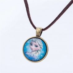 SUTI  Cute Cartoon Elsa And Anna Characters Leather Necklaces Glass Necklace, Pendant Necklace, Teen Necklaces, Cute Cartoon Characters, Daddys Girl, Leather Necklace, Heart Charm, Vintage Photos, Chokers