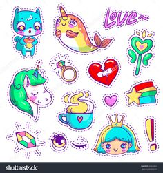 Neon vector patch badges with animals, characters and things. Hand-drawn stickers, pins in cartoon 80s-90s comics style. Set with cute unicorn, narwhal, squirrel, princess, magic wand, etc. Part 3