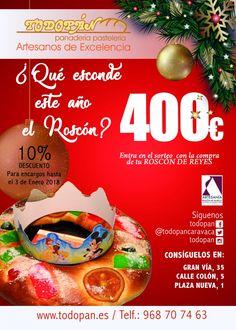 Los Reyes Magos te traen DINERO. Compra tu Roscón en Todopan Caravaca y participa en el sorteo de 400€.