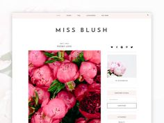 Minimal Responsive Wordpress Theme - Miss Blush  Miss Blush is one of our premium Wordpress themes- perfect for the stylish blogger! It comes with