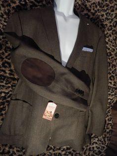 Cremieux Wool Saratoga Jacket Blazer Sport Coat Elbow Patches Brown $275 XL 44 #RalphLauren #TwoButton