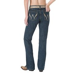 Wrangler Women's Cash Ultimate Riding Sits Below Waist Jean, Stone Dark, 0x36