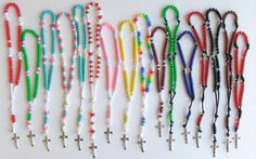 Adorable pony bead rosaries made by kids.