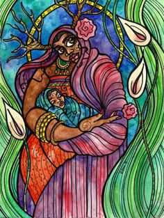 Changing Woman and Child of Water is an original watercolor and ink painting by Trinidadian artist Danielle Boodoo-Fortune. The painting is Mother And Child Painting, Madonna Art, Natural Hair Art, Divine Feminine, Feminine Energy, Afro Punk, Ink Painting, Watercolor And Ink, Folk Art