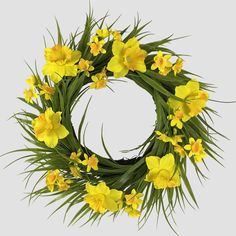Latest Cost-Free Daffodils wreath Style Daffodils absolutely are a joyful spring flower, announcing the welcome arrival of lighter mornings Sola Wood Flowers, Faux Flowers, Dried Flowers, Daffodil Bulbs, Daffodils, Indoor Wreath, Autumn Display, Spring Home Decor, Faux Plants