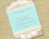 rustic digital design with burlap background, lace and ribbon layers printed on a flat invitation card