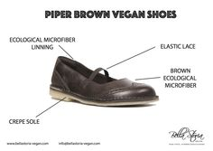 Piper vegan shoes mary jane brown ecological microfibre crepe sole natural rubber