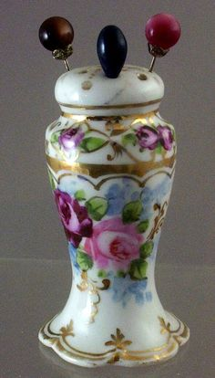 Antique Victorian Hand-Painted Roses Porcelain Hat-Pin Holder