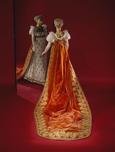 Court train (manteau de cour), ca.1809, French. Red cut silk-velvet embroidered with gold metallic thread.    This court train is said to have been worn by Armandine-Marie-Georgine de Serent at Napoleon's marriage to Marie Louise in 1810. In 1808, the wearer had married the prince de Léon, chamberlain to the emperor, and this costume closely follows the ettiquette for ladies at court, as established by the designs of the painter Jean-Baptiste Isabey for Napoleon's coronation as emperor in…
