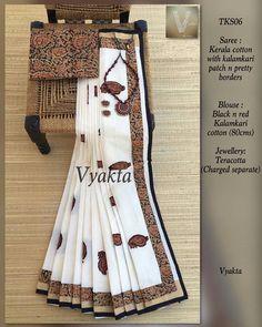 Pure Georgette Sarees, Indian Silk Sarees, Indian Beauty Saree, Cotton Saree, Kalamkari Dresses, Kalamkari Saree, Kasavu Saree, Sari Design, Sari Blouse Designs