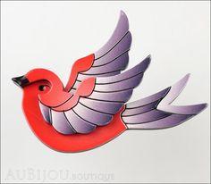 Erstwilder Bird Brooch Pin Fancie Jo Sparrow Red Grey Front
