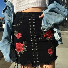 Spring trends : denim jacket and floral embroidery skirt <3 Latest Fashion Trends for 2017, What's In For Spring, Summer, Spring 2017 Current Fashion Trends www.potoroze.es
