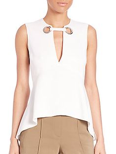 Girls Fashion Clothes, Fashion Outfits, Clothes For Women, Collar Styles, Blouse Styles, Cut Shirt Designs, Flare Top, Couture Tops, Work Attire