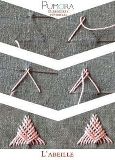 Pumora's lexicon of embroidery stitches: l'abeille, Sprat's head stitch, arrowhead tack