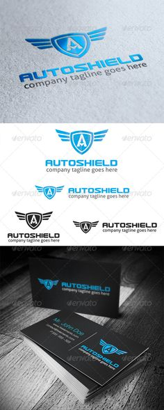 Auto Shield Logo Letter A #GraphicRiver Auto Shield is a blue letter A logo inside crest or shield with wings, suited for any business logo related to automotive, or any business with letter A as company name initial. All in the package : - Ai, EPS, PSD files - CMYK color mode - 100% vector file fully editable