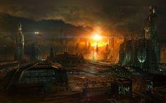 планеты, digital art wallpapers, christian hecker, сумерки, восход феникса, tigaer, облака, будущее, небо, город, phoenix rising, cg wallpapers, здания, фантастика, далёкие миры, корабли