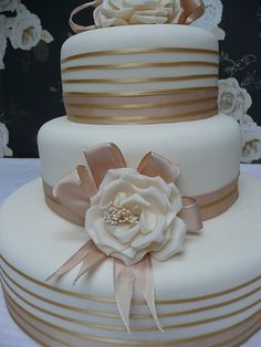 ivory wedding cake mocha ribbon