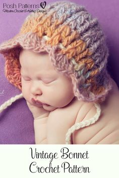 Crochet PATTERN - Crochet Hat Pattern - Crochet Patterns for Babies - Baby  Bonnet Pattern - Baby 6219bbfcb8fb