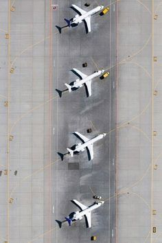 Aerial airplane symmetry at airport