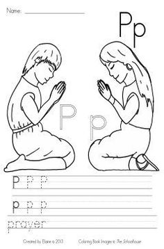 P is for Prayer - This is a coloring and writing practice page for the Letter Pp.  Each week I create (and share) the sheet that I use in my classroom.