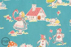 Fat Quarter Alice in Wonderland in Blue, Trefle, Kokka Fabrics, Japanese Import, Cotton Fabric, HA-4580 via Etsy