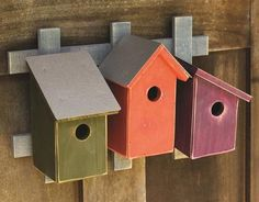 Add a refreshing addition to your garden while helping to house the birds! Trellis Trio Birdhouses are handcrafted of durable cypress in vivid palettes with attached rustic trellis. A most unique desi