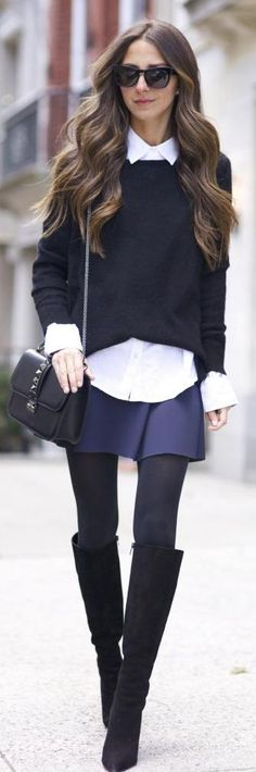 Navy Preppy A-skirt