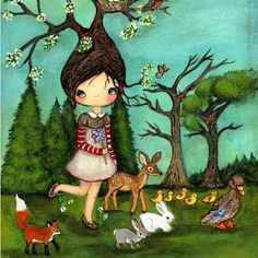 Nature walk #art #painting #nature #tree #girl #forest #ducks #birds #animalart #animalartist #fawn #deer #fox #bunny #cute #love #thepoppytree #spring