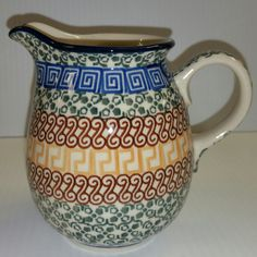 "CA079-050 Autumn Pitcher/2 Cup (4.75""x 17oz) Hand painted Polish Pottery is safe for use in the oven, microwave and dishwasher"