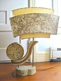 Atomic 1950s Table Lamp Modern Vintage Abstract 3 Tier Fiberglass MCM Majestic   eBay