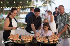 slider station with choice of tradition, Hawaiian style beef, kalua pork, or lamb