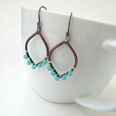 Copper mint earrings, green beaded dangles, silver and copper jewelry by BLUEskyBLACKbird on Etsy https://www.etsy.com/listing/186795064/copper-mint-earrings-green-beaded