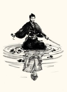 "Tatsuya Nakadai in Masaki Kobayashi's film ""Harakiri"" (1962), drawn by Greg Ruth.   The main character discovered that several samurai made his son-in-law commit seppuku (the polite term for 'Harakiri').  Now he is surrounded by the top knots of all the dead samurai, while gazing at the vision of his now-dead son-in-law, who has been vindicated."