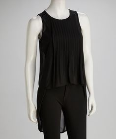 Take a look at this Black Pleated Hi-Low Top by Costa Blanca on #zulily today! $26.99, regular 55.00