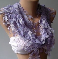 Lilac   Elegance  Shawl / Scarf with Lacy Edge by womann on Etsy, $18.00