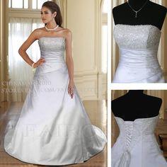 White/Ivory Wedding Dress Bridal Gown $115